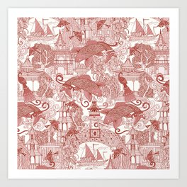 chinoiserie toile red Art Print