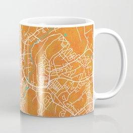 Huddersfield, England, Gold, Blue, City, Map Coffee Mug