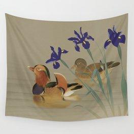 Mandarin Ducks and Irises Wall Tapestry