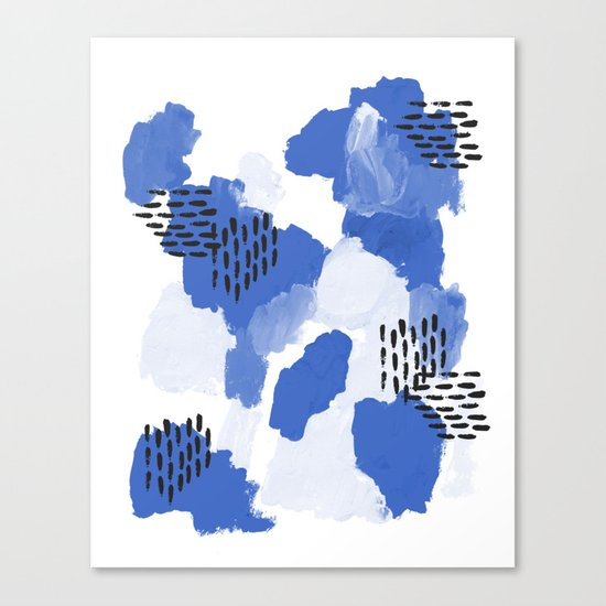 Painted blue abstract monochromatic minimal modern art painting dorm college gender neutral design Canvas Print