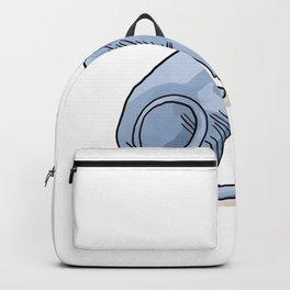Elegant Sphynx Cat Sitting - Hairless Wrinkly Kitty -Bald light blue Animal Illustration - Pet Portrait Backpack