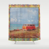 1975 Shower Curtains featuring THE ORANGE VW BUS III by Bones and Balloons