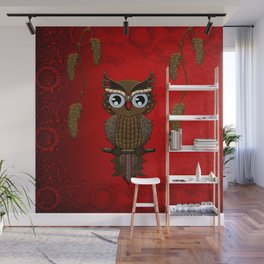 Wonderful steampunk owl on red background Wall Mural