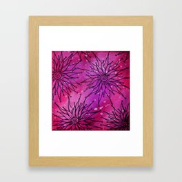Flowers on pink and purple Framed Art Print