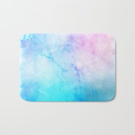 Turquoise Pink Watercolor Texture Bath Mat