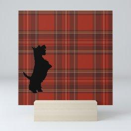 Scottie Dog and Scottish Check Mini Art Print