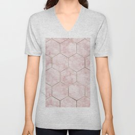 Cloudy pink marble hexagons Unisex V-Neck