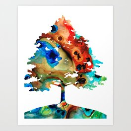 All Seasons Tree 3 - Colorful Landscape Print Art Print