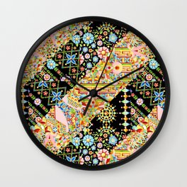Crazy Patchwork Triangles Wall Clock
