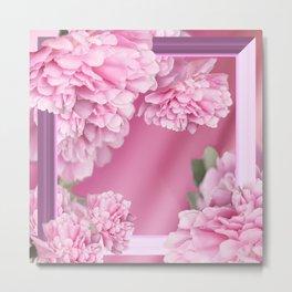 Pink Peonies In Frame #decor #society6 #buyart Metal Print
