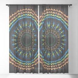 Decorative tribal Mandala artwork Sheer Curtain