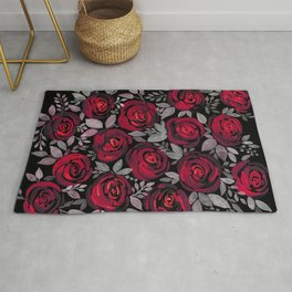 Watercolor red roses on black background Rug