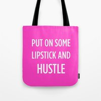 hustle Tote Bags featuring Hustle by I Love Decor