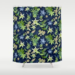 Alpine Flowers Blue - Gentian, Edelweiss Shower Curtain