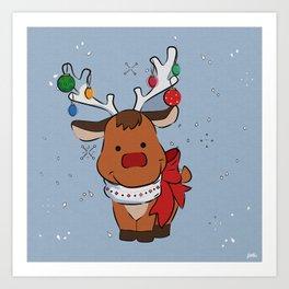 Christmas Baby Reindeer Art Print