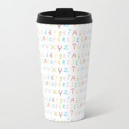 Alphabet -letter,child,language,Abecedarium,abc,abcdefg, symbols,,script,write,writing Travel Mug