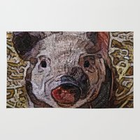 piglet Area & Throw Rugs featuring Shiny doodle PIGLET by MehrFarbeimLeben