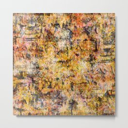 Urban Grunge Decay Texture Abstract Pattern Design , Rugged Mixed Media Modern Art Painting Metal Print