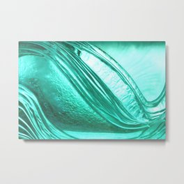 Deep sea blue glass texture Metal Print
