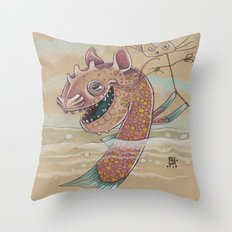 SWIMMING WITH PUPPETS Throw Pillow