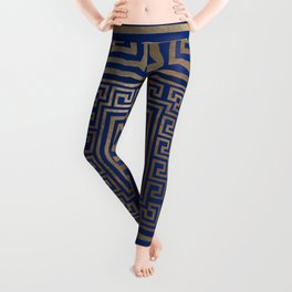 Greek Key Ornament - Greek Meander -gold on blue Leggings