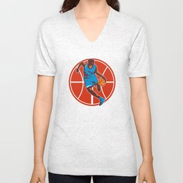 Basketball Player Dribble Ball Front Retro Unisex V-Neck