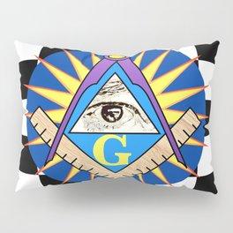 Masonic Square & Compass On Blue Disc Pillow Sham