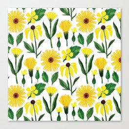 Watercolor sunshine yellow green daisies floral Canvas Print