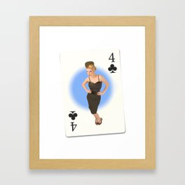 """Four of Clubs"" - Playful Pinup - Retro Girl on Playing Card by Maxwell H. Johnson Framed Art Print"