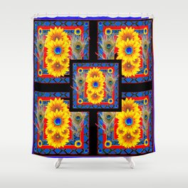 BLUE PEACOCK JEWELED SUNFLOWERS DECO ABSTRACT Shower Curtain