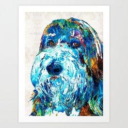 Bearded Collie Art 2 - Dog Portrait by Sharon Cummings Art Print
