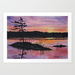Maine Orange Sunrise Print  Art Print