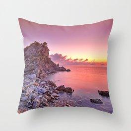 The sunrise at Agios Ioannis Kastri of Skopelos island, Greece Throw Pillow