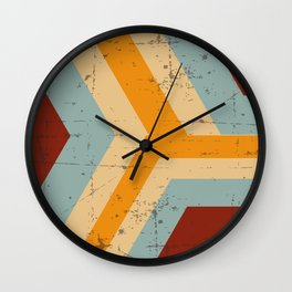 Abstract Mod Cube Teal mid century modern Texture grunge vintage colors Wall Clock