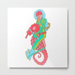 Riding the seahorse Metal Print