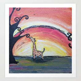 Giraffe Has a Snack Art Print