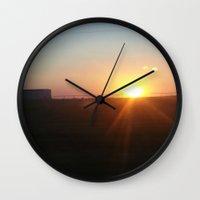 oklahoma Wall Clocks featuring Oklahoma Sunset by HmmCades