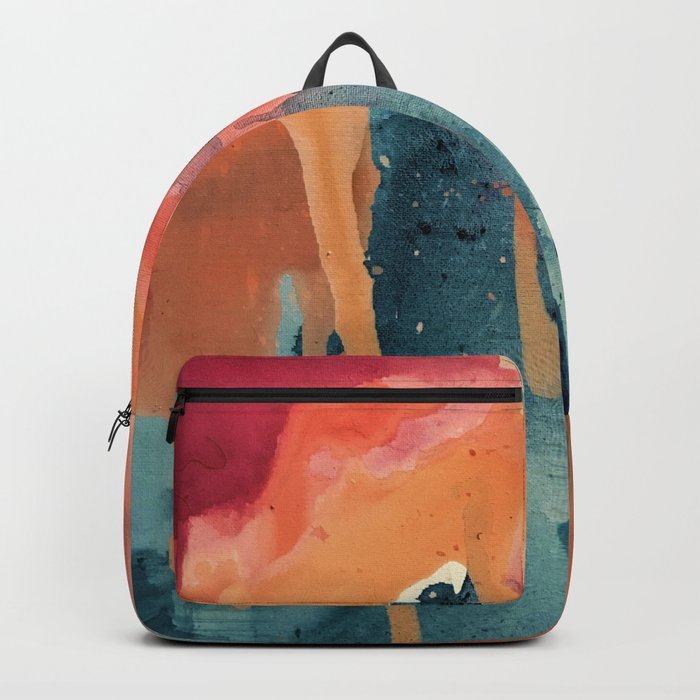 Pour Some Sugar on Me: a colorful mixed media abstract in pinks blues orange and purple Backpack
