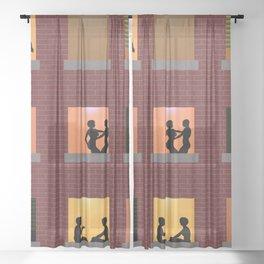 Multi Storey Apartment Windows at Night Sheer Curtain
