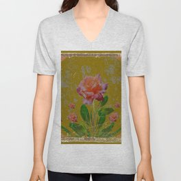 ANTIQUE AVOCADO COLOR  CORAL  PINK ROSES BOTANICAL ART Unisex V-Neck