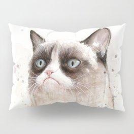 Grumpy Watercolor Cat Geek Meme Whimsical Animals Pillow Sham