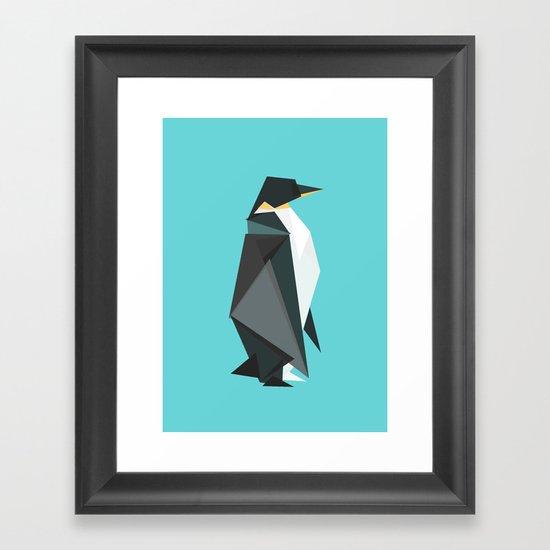 Fractal geometric emperor penguin Framed Art Print