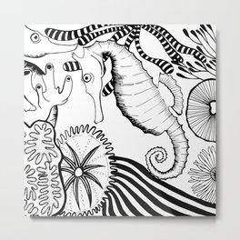 Coral reef black and white Metal Print