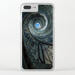Decorated spiral staircase in blue tones Clear iPhone Case