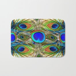 AWESOME BLUE-GREEN PEACOCK FEATHERS ART Bath Mat