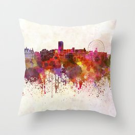 Sheffield skyline in watercolor background Throw Pillow