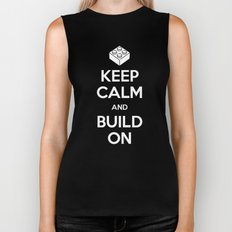Keep Calm and Build On Biker Tank
