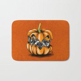 Halloween Pumpkin Pug Bath Mat