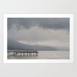 waiting for the storm to pass over Lake Tahoe ... Art Print