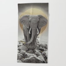 Strength & Courage (Stay Gold Elephant) Beach Towel